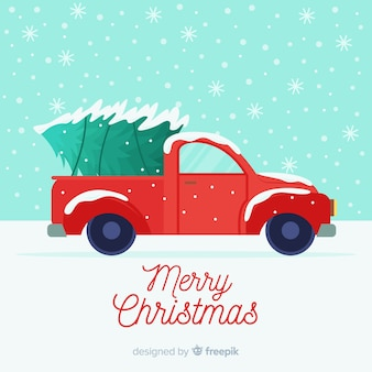 ツリー配信トラッククリスマスの背景