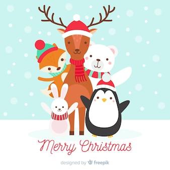 フラットな動物のクリスマスの背景