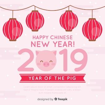 ランタンガーランド中国の新年の背景
