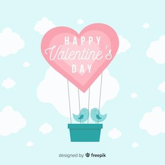 熱気球のバレンタインデーの背景