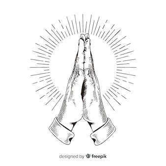 Ручной обращается фон молящихся рук
