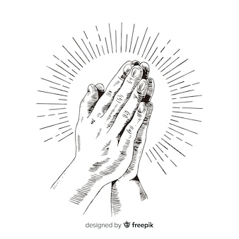 手を描いた祈りの手の背景