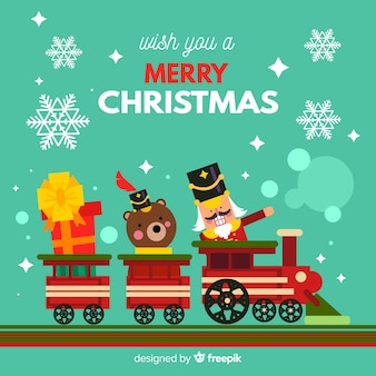 列車の背景でクリスマスのおもちゃ