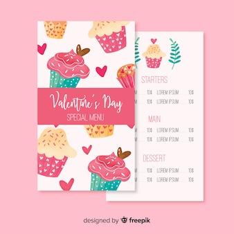 カップケーキのバレンタインデーメニュー