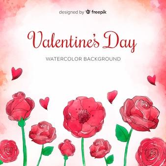 水彩の花バレンタインデーの背景