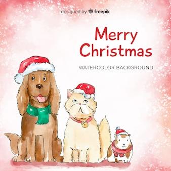 クリスマスの動物の背景