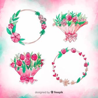 水彩バレンタインデーの花コレクション