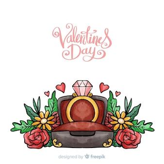 Ручной обращается кольцо день святого валентина фон