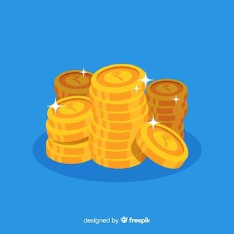 Стек золотых монет индийская рупия