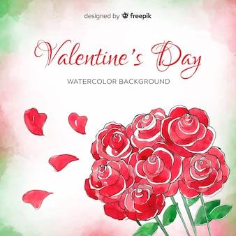 水彩の花束バレンタインの日の背景