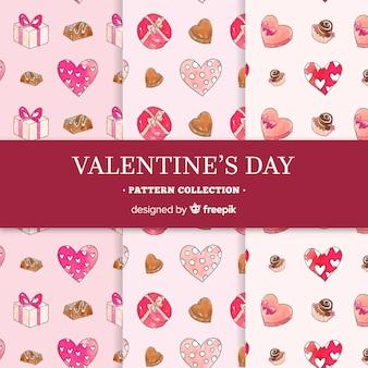 手描きのチョコレートバレンタインの日のパターンのコレクション