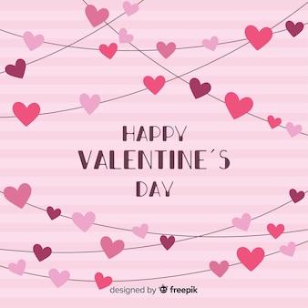 Сердце гирлянды день святого валентина фон
