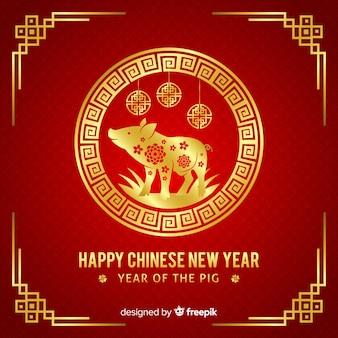 Красный и золотой китайский новый год фон