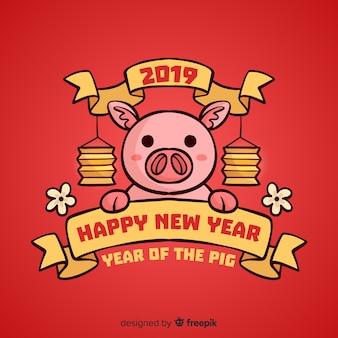 フラットな中国の新年の背景