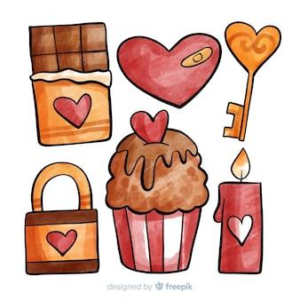 Коллекция элементов дня святого валентина