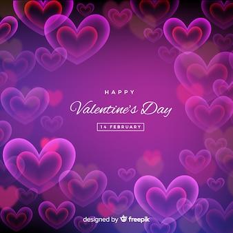 ぼんやりしたネオンの心バレンタインの日の背景