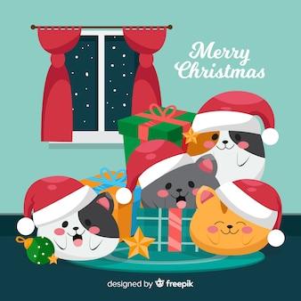 かわいいクリスマス動物の背景