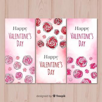 水彩のバラのバレンタインのバナー
