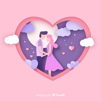 カップルのバレンタインデーの背景をカット