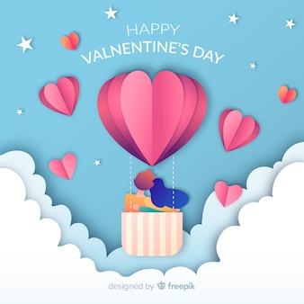 紙の熱気球のバレンタインの日の背景