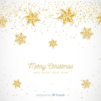 黄金の光る星のクリスマスの背景