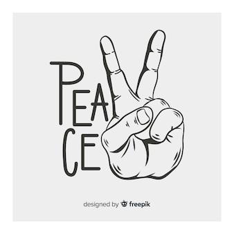 ヴィンテージ平和サインの手
