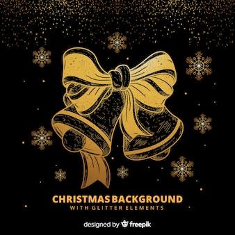 キラキラ要素とクリスマスの背景