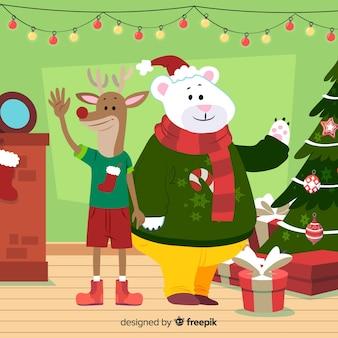 クリスマスの動物の挨拶