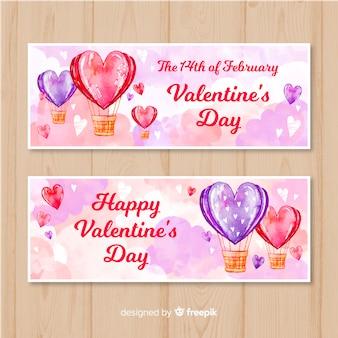 水彩熱気球バルーンバレンタインバナーコレクション