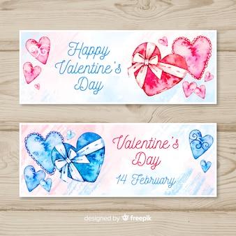 Акварельный подарок валентина баннер