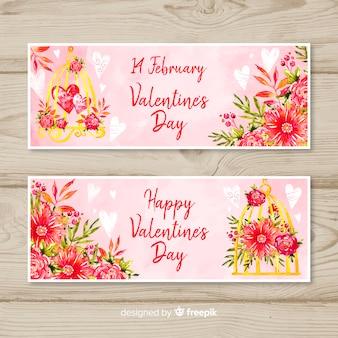 花のバレンタインバナーコレクション
