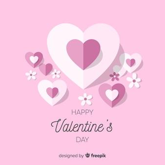 ハートと花のバレンタインの背景