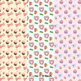水彩要素バレンタインパターンパック