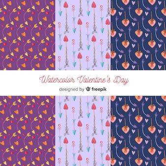 水彩の矢印のバレンタインパターンパック