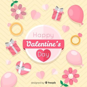 平らな要素のバレンタインの背景