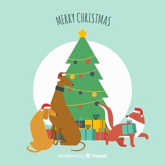 クリスマスの動物