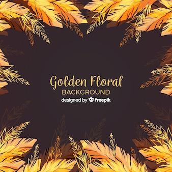 Золотой цветочный фон