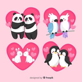 かわいいバレンタイン動物カップルパック