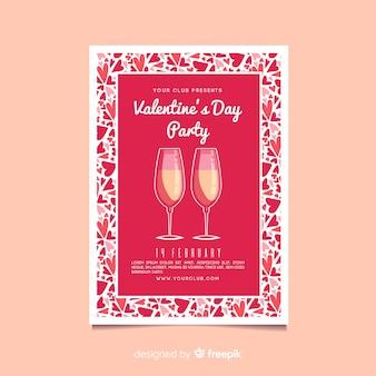 バレンタインパーティーのシャンパンポスターテンプレート