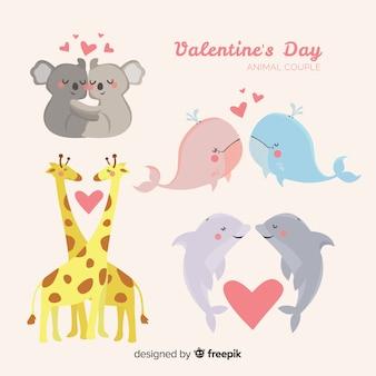 Симпатичная коллекция животных пара дня святого валентина