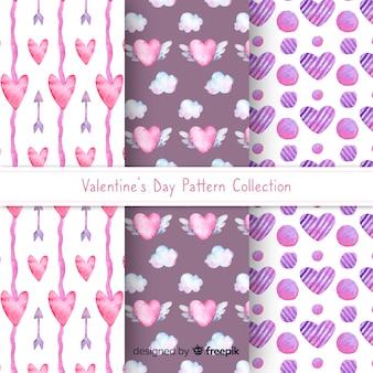 水彩ハートバレンタインパターンコレクション