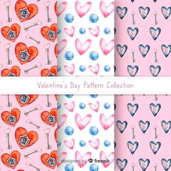 水彩バレンタインパターンコレクション