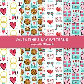 手描きのバレンタイン要素パターンコレクション