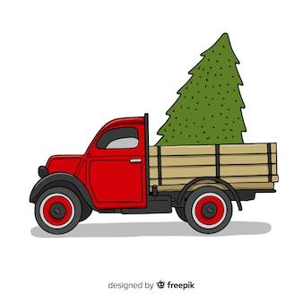 クリスマスツリーのピックアップトラック