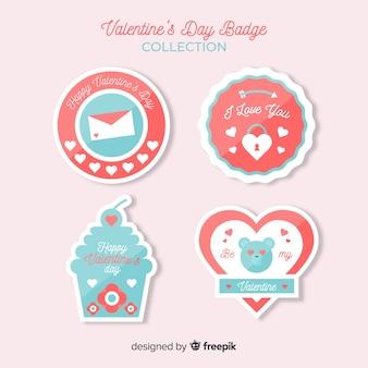 バレンタインフラットバッジコレクション