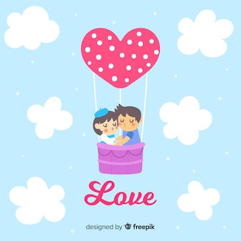 熱気球のバレンタインの背景にカップル