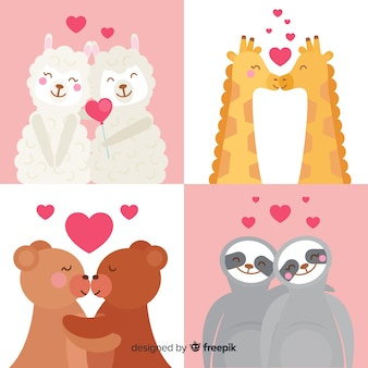 手描きのバレンタイン動物コレクション