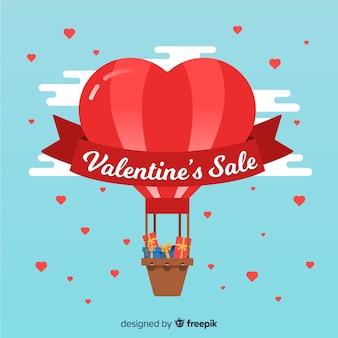 熱気球のバレンタインの販売の背景