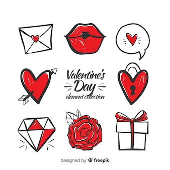 手描きのバレンタイン要素パック