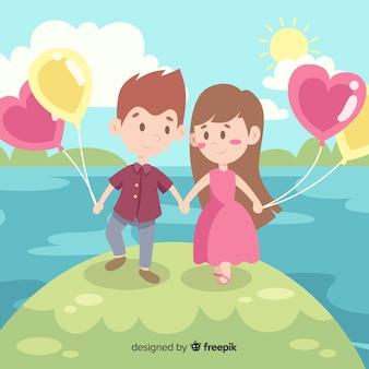 バレンタイン背景カップルと風船